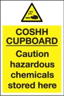 Yellow COSHH Cupboard Sign Notice 300x200mm Self adhesive