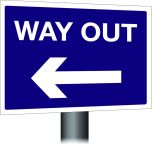 Way Out Sign - Left Arrow 300x400mm Post Mounted