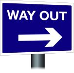 Way Out Sign - Right Arrow 300x400mm Post Mounted