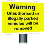 Warning vehicles will be removed .  300x400mm W/M