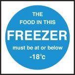 Freezer temperature. 100x100mm. Self Adhesive Vinyl