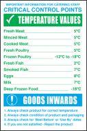 Critical Control Points/Temperature Values/Goods Inwards. 300x200mm. S/A