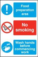 Food Prep Area/ No Smoking / Food Production Area. 300x200mm