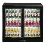 Polar GL003 - Bar / Bottle Cooler - Double Sliding Doors, Black, LED