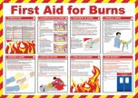 First aid for burns poster. 420x590mm