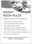 Weight room rulesSpa & Fitness Notice. 400x275mm E/R