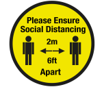 Social Distancing 2m Floor Graphic - Coronavirus Protection 800mm