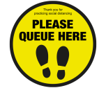 Please Queue Here With Symbol Social Distancing Floor Graphic Sticker 200mm
