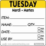 50mm Tuesday  Removable Day Label (500) - Genware