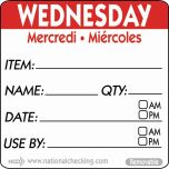 50mm Wednesday Removable Day Label (500) - Genware