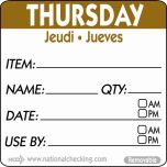 50mm Thursday Removable Day Label (500) - Genware
