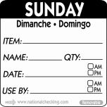 50mm Sunday Removable Day Label (500) - Genware