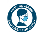 "Sign - ""Face Covering Required For Entry"" Vinyl Sticker 125mm Diameter"
