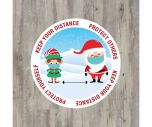 """Christmas """"Keep Your Distance"""" Floor Graphic Sticker 20cm"""