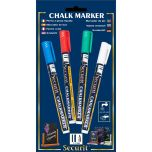 Chalkmarkers 4 Colour Pack (R,G,W,Bl) Small  - Genware
