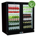 Sterling Pro Green SP2HC-BS Black Sliding Double Door Bottle Cooler 180 Bottles