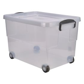 Storage Box 60L W/ Clip Handles On Wheels - Genware