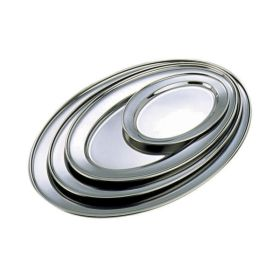"Stainless Steel Oval Flat 9"" - Genware"