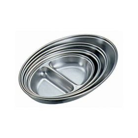"Stainless Steel 2 Division Oval Vegetable Dish 8"" - Genware"