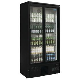 Polar GJ448 Upright Back Bar Cooler with Sliding Doors in Black 490Ltr