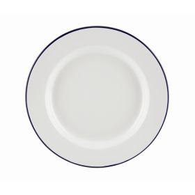 Enamel Wide Rim Plate White & Blue 26cm