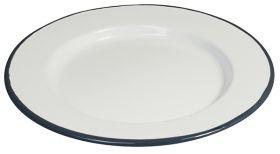 """Enamel Round Plate White & Grey Rim 24cm / 10"""""""