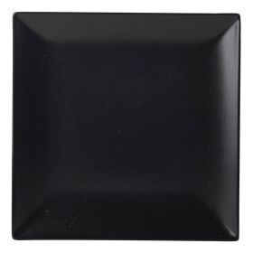 Luna Square Coupe Plate 18cm Black Stoneware Pack of 6