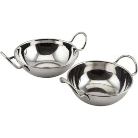 "Stainless Steel Balti Dish 13cm(5"")With Handl - Genware"