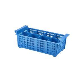 8 Compart Cutlery Basket (Blue)430X210X155mm - Genware