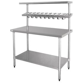 Vogue Stainless Steel Prep Station with Gantry - CB908 - 1200(W) x 600(D) x 1500(H)mm