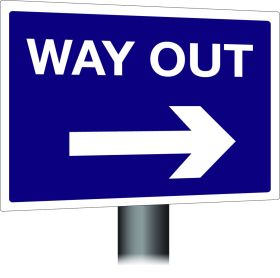 Way Out Sign - Right Arrow 300x400mm Wall Mounted