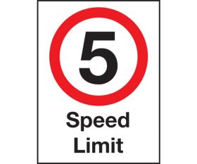 Safety Sign - 5 mph speed Limit . 600x400mm Wall or Post Mounted
