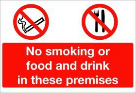 No smoking, food or drink in these premises.  150x200mm W/S