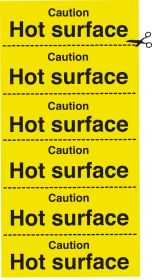 Caution hot surface. strip of 6. 100x200mm. S/A