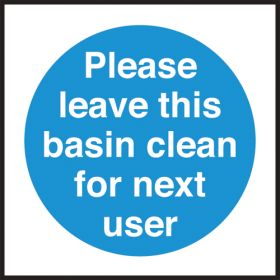 Leave this basin clean for next user. 100x100mm. S/A