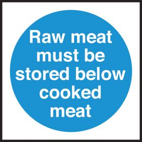 Raw meat store below cooked meat. 100x100mm. Self Adhesive Vinyl