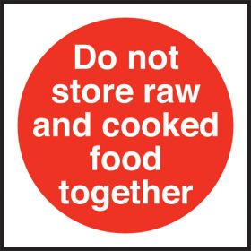 Do not store raw/cooked food together. 100x100mm. Self Adhesive Vinyl