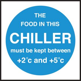 Chiller temperature. 100x100mm. Self Adhesive Vinyl