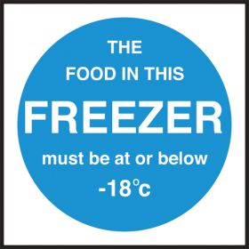 Freezer temperature. 100x100mm. Self Adhesive Vinyl