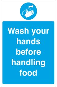 Wash your hands before handling food. 300x200mm. S/A