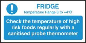 Check fridge temperature guide notice. 100x200mm. S/A