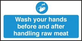 Wash your hands/ handling raw meat. 100x200mm S/A