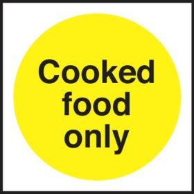 Cooked Food Only. 100x100mm. Self Adhesive Vinyl