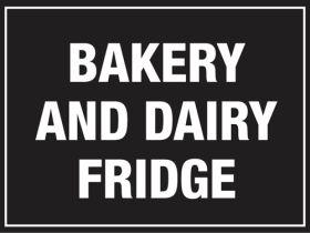 Bakery & Dairy Fridge. 150x200mm. Self Adhesive Vinyl