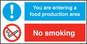 Food Production Area/ No Smoking. 150x300mm