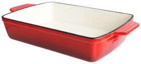 Red Cast Iron Dish Rectangular 28 x 22 x 6.5 cm 2 Litres Sunnex CST28R