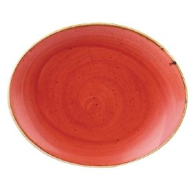 Churchill Stonecast Oval Coupe Plate Berry Red 192mm - DB072 - pk 12