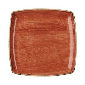 Churchill Stonecast Deep Square Plate Spiced Orange 260mm - DK546 - pk 6