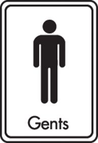 Gents symbol with text. Black on white. F/M