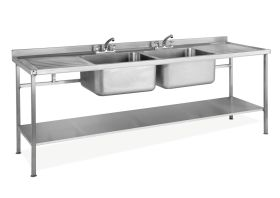 Parry Double Bowl Double Drainer Sink - Stainless Steel  L2400 x W700 x W900 - SINK2470DBDD
